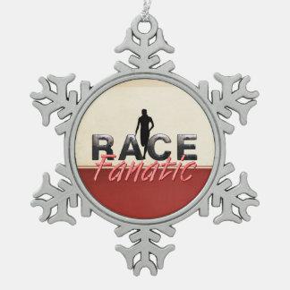 SPITZENbahn-Rennen-Fanatiker Schneeflocken Zinn-Ornament