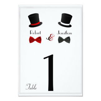 Spitzenhut-und Bogen-Krawatten-homosexuelle 8,9 X 12,7 Cm Einladungskarte