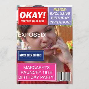 Spoof mag Celebrity Klatsch Bratschen Geburtstag l Einladung