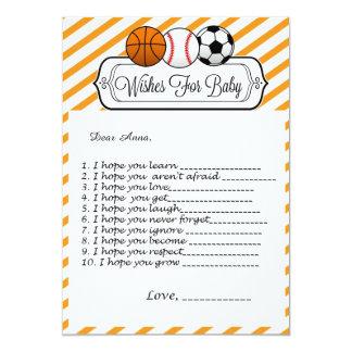 Sport-Babyparty-Wünsche für Baby Karte