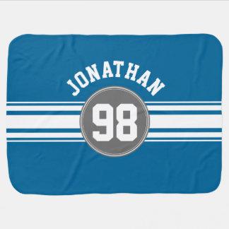 Sport Jersey blaue und graue Streifen-Namenszahl Puckdecke