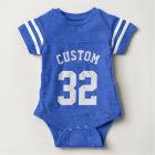 Sport-Jersey-Entwurf des Königsblau-u. Weiß-Baby-| Baby Strampler