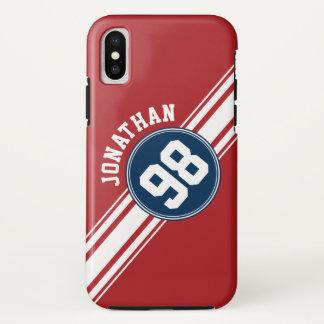 Sport-Jersey-Marine-Blau u. rote iPhone X Hülle
