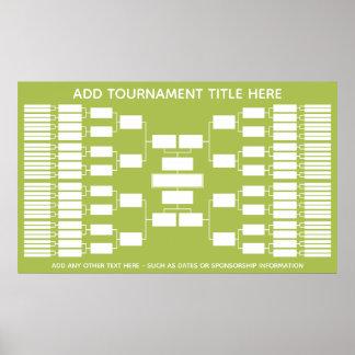 Sport-Turnier-Klammer für 64 Teams Poster