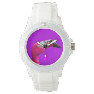 Sportliche Uhr, weißer Silikon-Bügel-Rosa-Flamingo Uhr