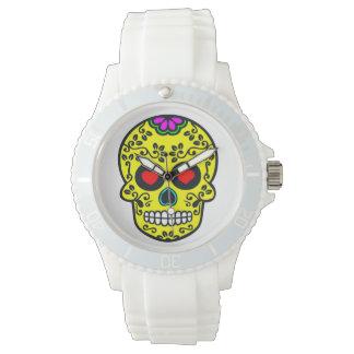 Sportlicher weißer Silikon whatch Mexikanerschädel Armbanduhr