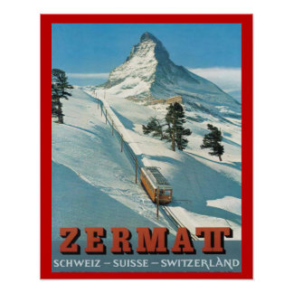 Sports d'hiver vintages, ski Suisse, Zermatt Poster