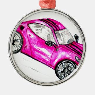 Sportwagen Sketch2 Rundes Silberfarbenes Ornament