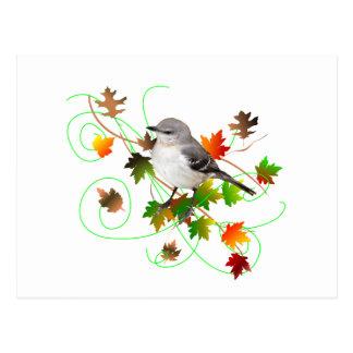 Spottdrossel u. Herbstlaub Postkarte