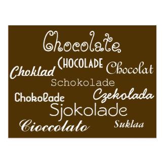 Sprachen der Schokoladen-Postkarte Postkarte