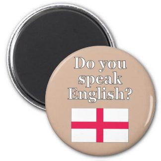 """""""Sprechen Sie Englisch? """"auf englisch. Flagge Runder Magnet 5,7 Cm"""