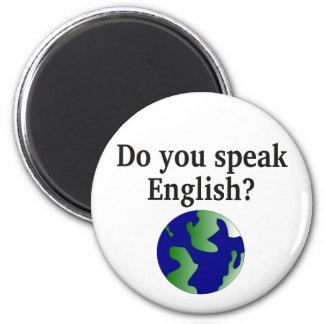 """""""Sprechen Sie Englisch? """"auf englisch. Mit Kugel Runder Magnet 5,7 Cm"""