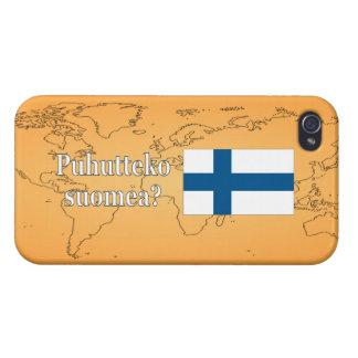 Sprechen Sie finnisches? auf finnisch. Flagge wf iPhone 4 Etui