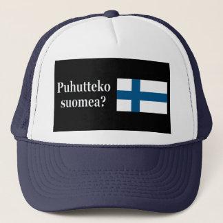 Sprechen Sie finnisches? auf finnisch. Flagge wf Truckerkappe