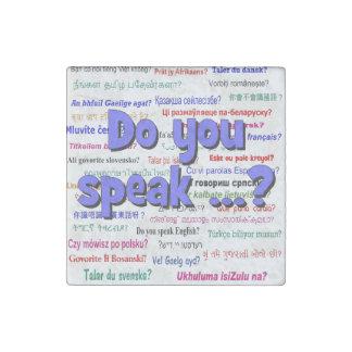 Sprechen Sie…? Fragen- und Hintergrundblau Steinmagnet