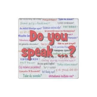 Sprechen Sie…? Fragen- und Hintergrundrot Stein-Magnet