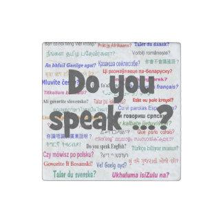 Sprechen Sie…? Fragen- und Hintergrundschwarzes Stein-Magnet