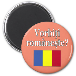 Sprechen Sie Rumänen? auf Rumänen. Flagge Runder Magnet 5,7 Cm
