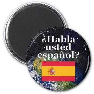 Sprechen Sie Spanischen? auf spanisch. Flagge u. Runder Magnet 5,7 Cm