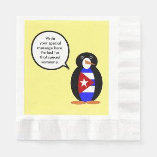 Sprechender kubanischer Flaggen-Pinguin Serviette