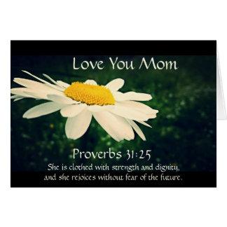 Sprichwort-31:25, der Tag der Mutter, weißes Grußkarte