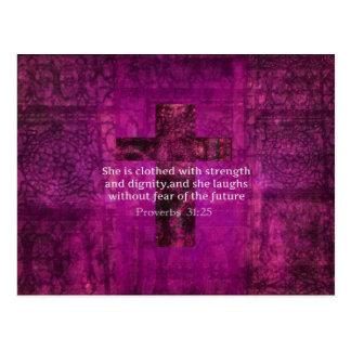 Sprichwort-31:25 inspirierend Bibel-Vers-Frauen Postkarte