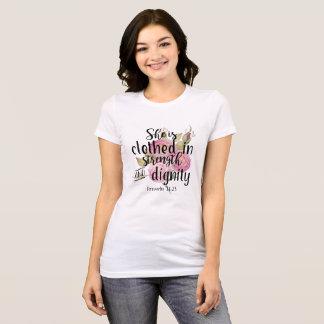 Sprichwort-31:25 wird sie in der Stärke gekleidet T-Shirt