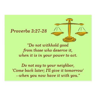 Sprichwort-3:27 - 28 Schrifts-codierte Karte
