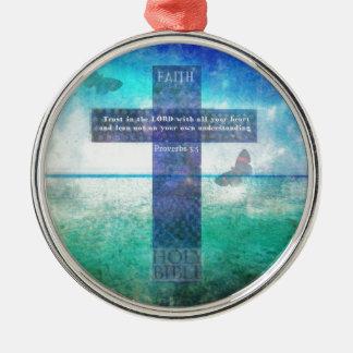 Sprichwort-3:5 Vertrauen im Lord mit Ihrem ganzem Silbernes Ornament