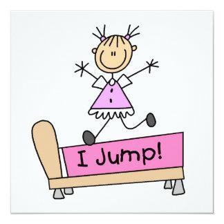 Springen auf das Bett-Strichmännchen-Mädchen