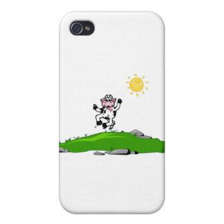 Springen für Freude-Kuh auf Gras iPhone 4 Schutzhüllen
