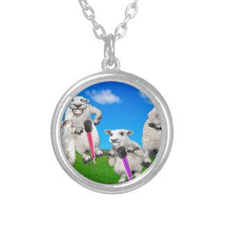 Springende Schafe Versilberte Kette