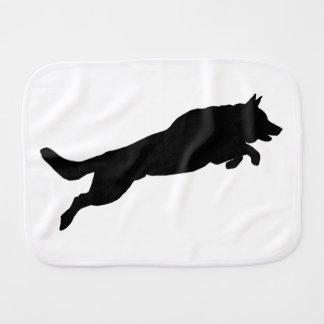Springende Schäferhund-Silhouette-Liebe-Hunde Spucktuch