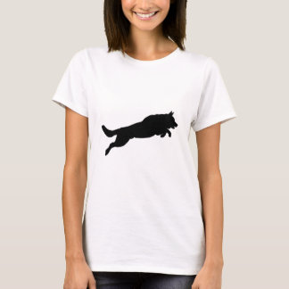Springende Schäferhund-Silhouette-Liebe-Hunde T-Shirt