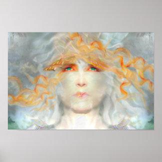 Spritzen der Farbe bilden Kunst-Fantasie Poster