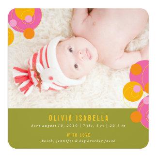 Sprudelnde Kreis-pinkfarbene rosa Quadratische 13,3 Cm Einladungskarte