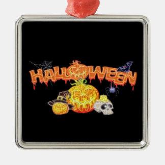 Spuk Halloween Quadratisches Silberfarbenes Ornament