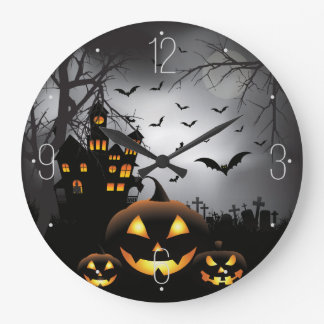 Spuk Haus des Halloweengraveyardszenen-Kürbises Große Wanduhr