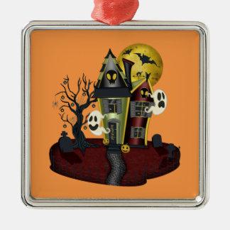 Spuk Haus Halloweens Quadratisches Silberfarbenes Ornament