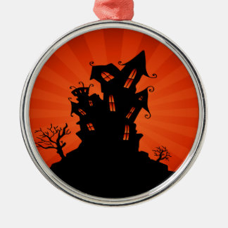 Spuk Haus Halloweens Rundes Silberfarbenes Ornament