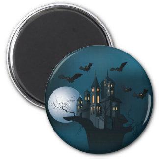 Spuk Haus Halloweens, toter Baum, Mond und Runder Magnet 5,1 Cm