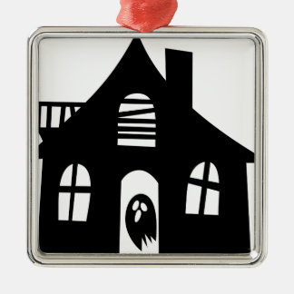 Spuk Haus Quadratisches Silberfarbenes Ornament