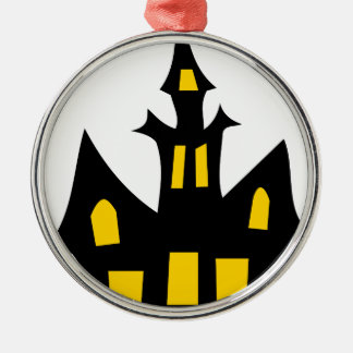 Spuk Haus Rundes Silberfarbenes Ornament