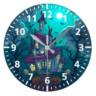 Spuk Haus-Uhr Halloweens Große Wanduhr