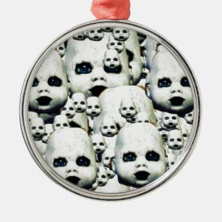 Spuk Puppenprodukte des beängstigenden kleinen Rundes Silberfarbenes Ornament