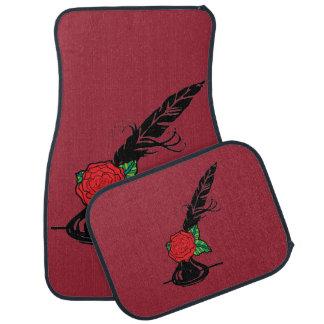 Spule und Tinte mit Rosen-roten Auto-Matten Auto Fussmatte