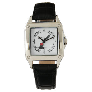 Spulen-und Tinten-Rosen-Quadrat-Gesichts-Uhr für Uhr