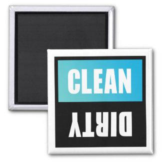 Spülmaschinen-sauberes oder schmutziges Zeichen Quadratischer Magnet