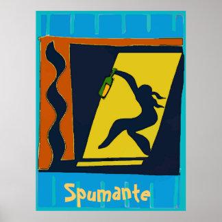 Spumante, Wein an der Tür abstrakt Poster