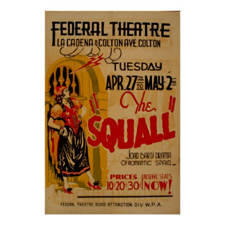 Squall-romantische spanische Frau 1937 WPA Vintag Poster